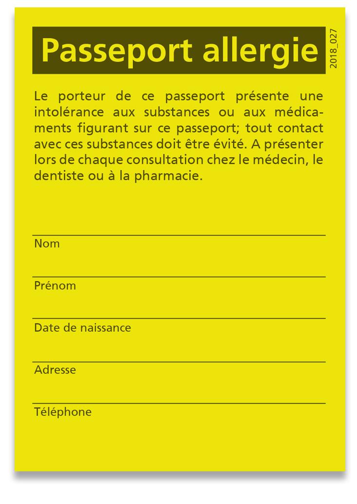 Passeport allergie