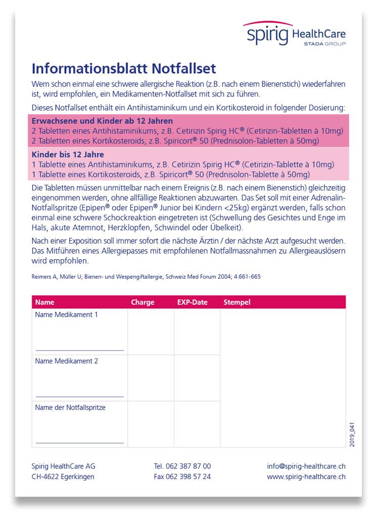 Beipackzettel Notfallset (deutsch)